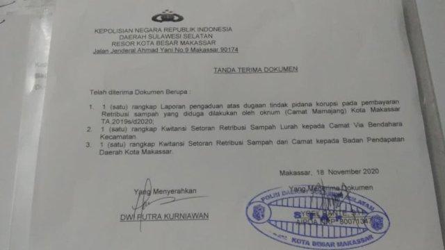 Bukti pelaporan di polrestabes Makassar