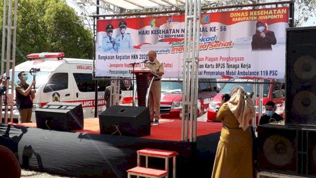 Bupati Jeneponto Iksan Iskandar sambutan di HKN ke-56.
