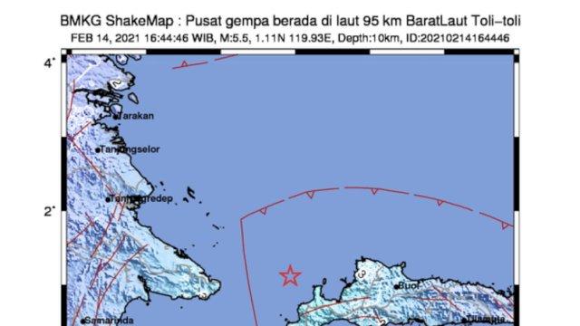 Toli-Toli Diguncang Gempa M 5,5