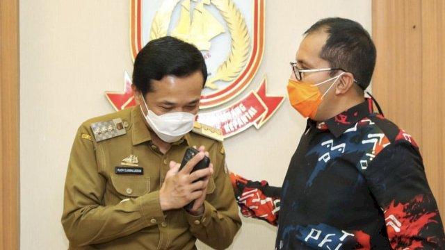 Walikota Makassar terpilih Danny Pomanto dan Pj Walikota Rudy Djamaluddin bertemu di Balai Kota