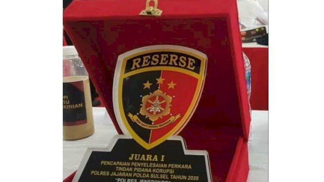 Top! Polres Jeneponto Sulsel Raih Penghargaan Terbaik Penanganan Kasus Korupsi