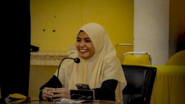 Suhartina Bohari mengikuti uji kelayakan Calon Ketua DPD Golkar Maros, di Sekretariat Golkar Sulsel, Jalan Botolempangan, Makassar, Kamis (18/2/2021).