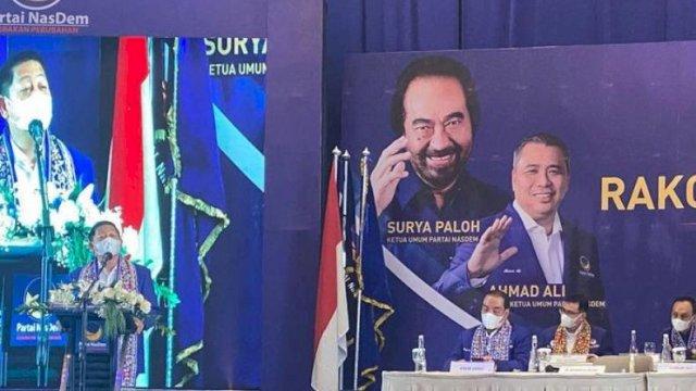 Ketua DPW NasDem Sulsel yang juga Ketua DPP NasDem Bidang OKK, Rusdi Masse, bicara di Rakorwil dan Workshop DPW NasDem Sumatera Selatan, Minggu (20/3/2021).