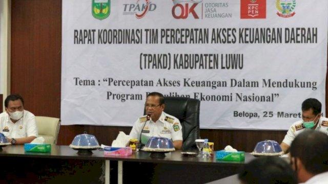 Dukung Program PEN 2021, Bupati Luwu Basmin Mattayang Pimpin Rakor TPKAD