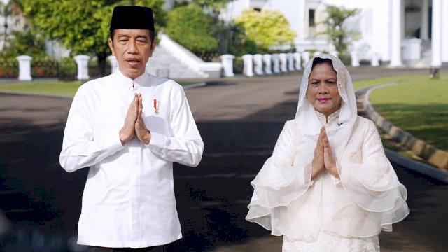 Presiden RI Joko Widoda dan Ibu Negara Iriana Joko Widodo menyampaikan selamat Idul Fitri 1442 H.