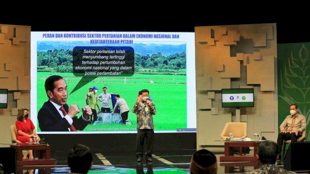 Mentan SYL saat menjadi pembicara di Indonesia Food Summit, Selasa (25/5/2021). Menko Airlangga memuji pertanian Indonesia yang mampu berkontribusi dalam pemulihan ekonomi nasional.