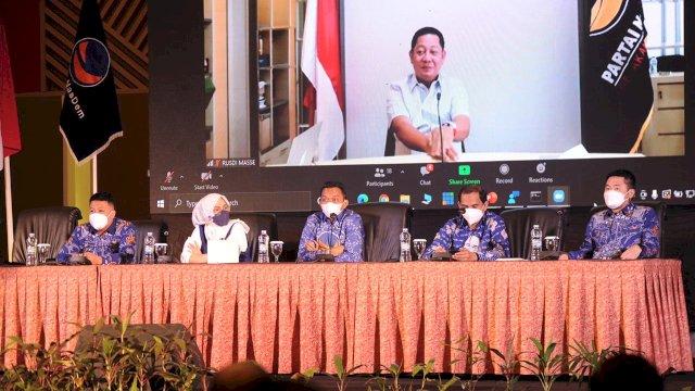 Ketua DPW NasDem Sulsel Rusdi Masse secara virtual memberikan sambutan pada Gebyar e-KTA NasDem Makassar