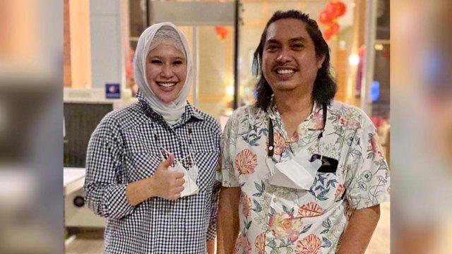 Irma Trisnawati Anwar bersama Ketum HIPMI Mardani H Maming saat berkunjung ke Makassar, belum lama ini.