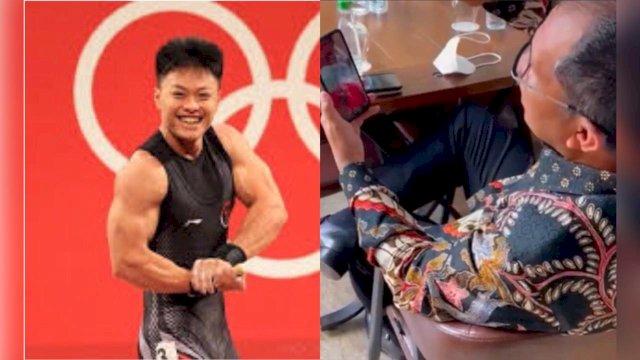 Wali Kota Makassar Moh. Ramdhan Pomanto saat melakukan panggilan video call dengan Rahnat Erwin, Peraih medali perunggu Olimpiade Tokyo asal makassar.