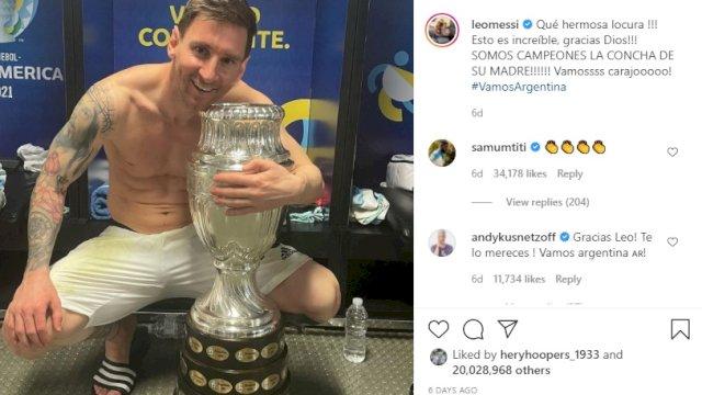 Foto Messi Peluk Trofi Copa America 2021 Pecahkan Rekor Likes Terbanyak di Instagram, Kalahkan Rekor Ronaldo