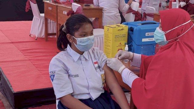 Vaksinasi siswa SMP di Makassar yang dilakukan beberapa waktu lalu. Kegiatan serupa akan kembali digelar pada 6 September mendatang.