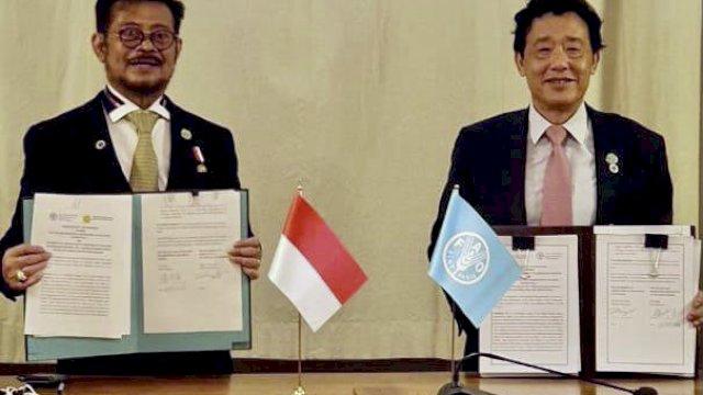 Perkuat Leadership Indonesia, Mentan Syahrul Teken MoU dengan FAO