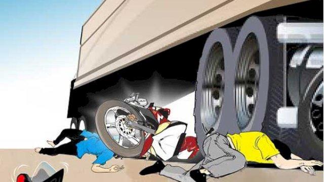 Bahayanya Menyalip dari Kiri, Dua Pemotor di Makassar Tewas Dilindas Truk Kontainer